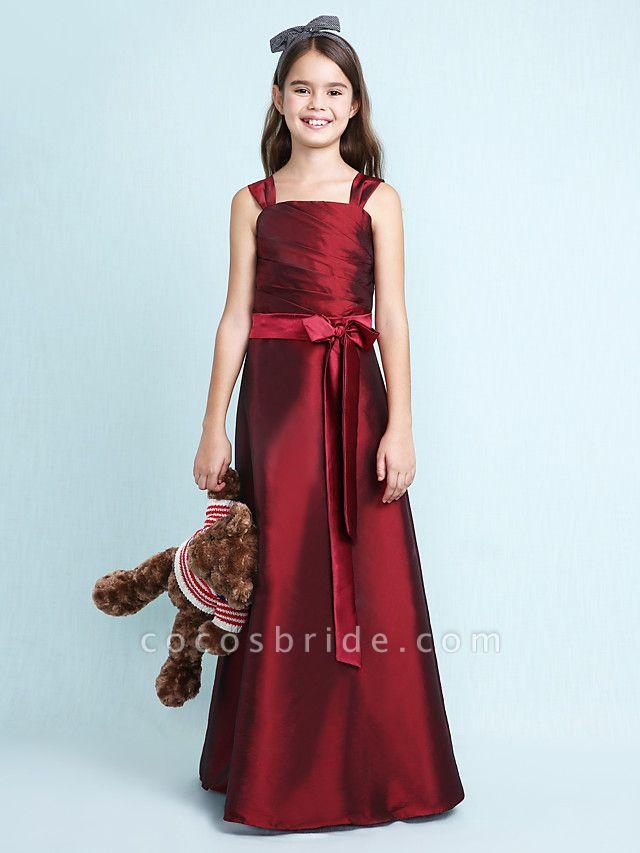 Princess / A-Line Straps Floor Length Taffeta Junior Bridesmaid Dress With Sash / Ribbon / Bow(S) / Ruched / Spring / Fall / Winter / Wedding Party / Natural