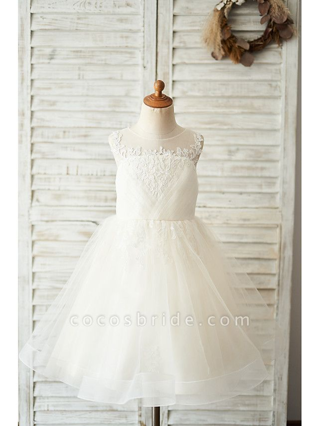 Ball Gown Knee Length Wedding / Birthday Flower Girl Dresses - Lace / Tulle Sleeveless Jewel Neck With Buttons / Appliques