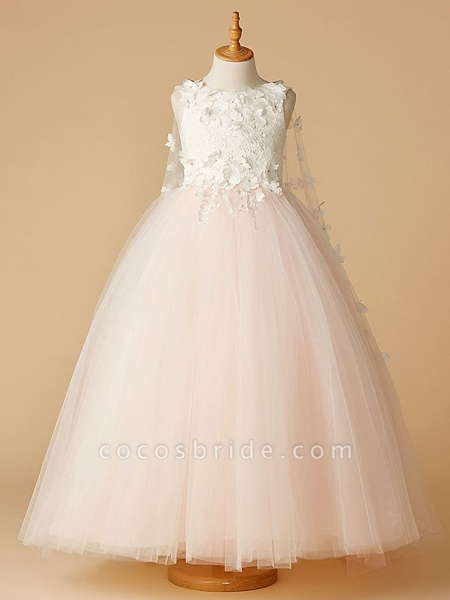 Ball Gown Floor Length Wedding / Party / Pageant Flower Girl Dresses - Lace / Tulle Sleeveless Jewel Neck With Beading / Appliques / Flower