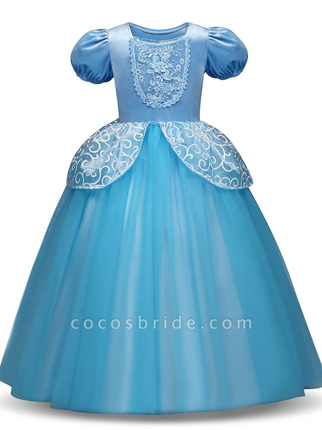 Princess Long Length Party / Birthday / Pageant Flower Girl Dresses - Tulle / Polyester Short Sleeve Jewel Neck With Tier / Appliques