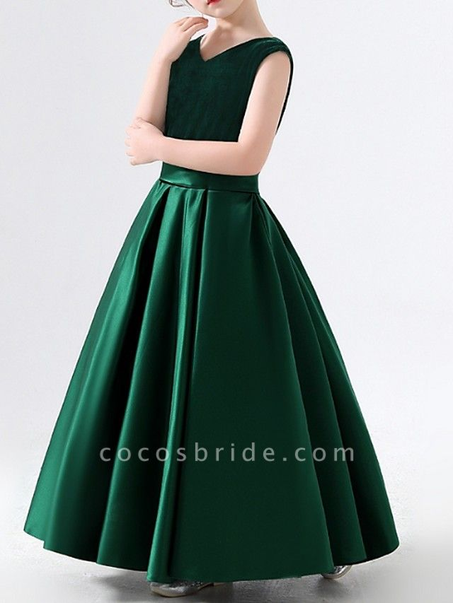 A-Line Floor Length Pageant Flower Girl Dresses - Polyester Sleeveless V Neck With Pleats