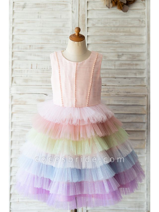 Ball Gown Knee Length Wedding / Birthday Flower Girl Dresses - Tulle Sleeveless Jewel Neck With Bow(S) / Pearls