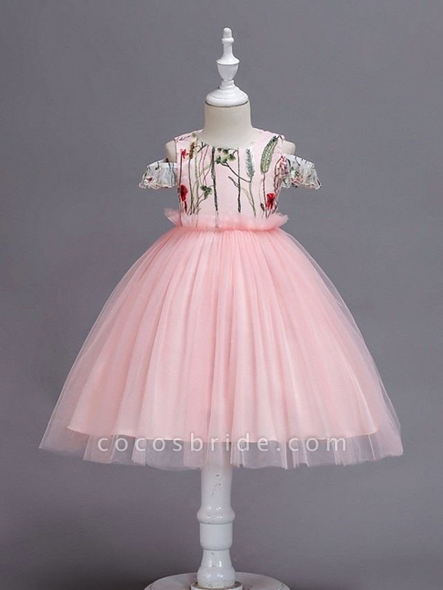 Princess / Ball Gown Knee Length Wedding / Party Flower Girl Dresses - Tulle Short Sleeve Jewel Neck With Bow(S) / Appliques