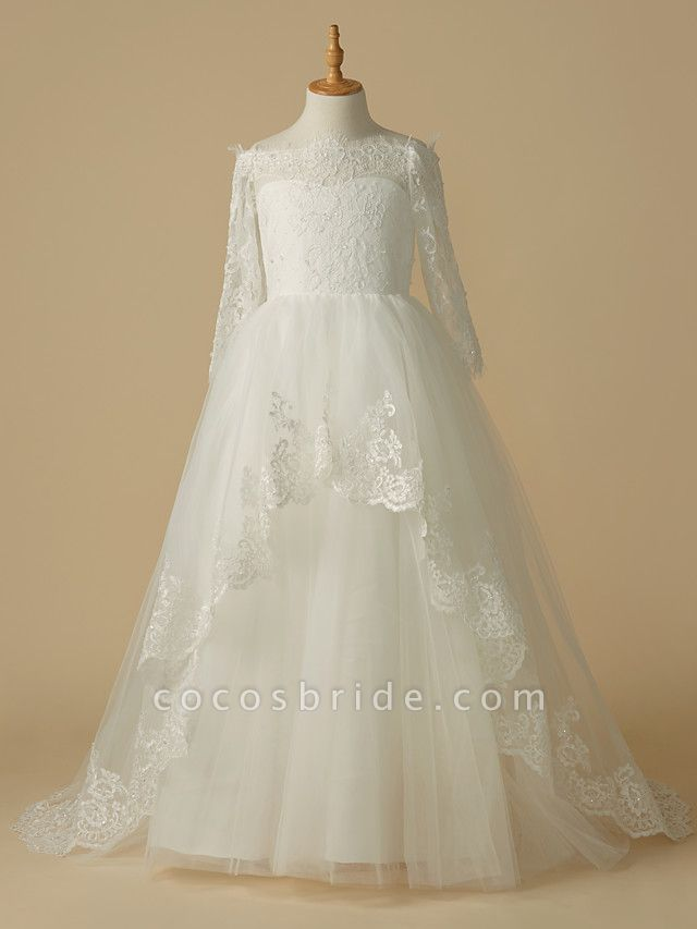 A-Line Sweep / Brush Train Wedding / First Communion Flower Girl Dresses - Lace / Tulle Half Sleeve Bateau Neck With Beading / Appliques