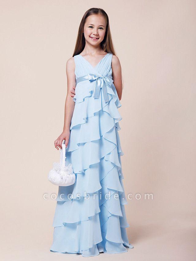 A-Line V Neck Floor Length Chiffon / Stretch Satin Junior Bridesmaid Dress With Bow(S) / Empire / Spring / Summer / Fall / Winter