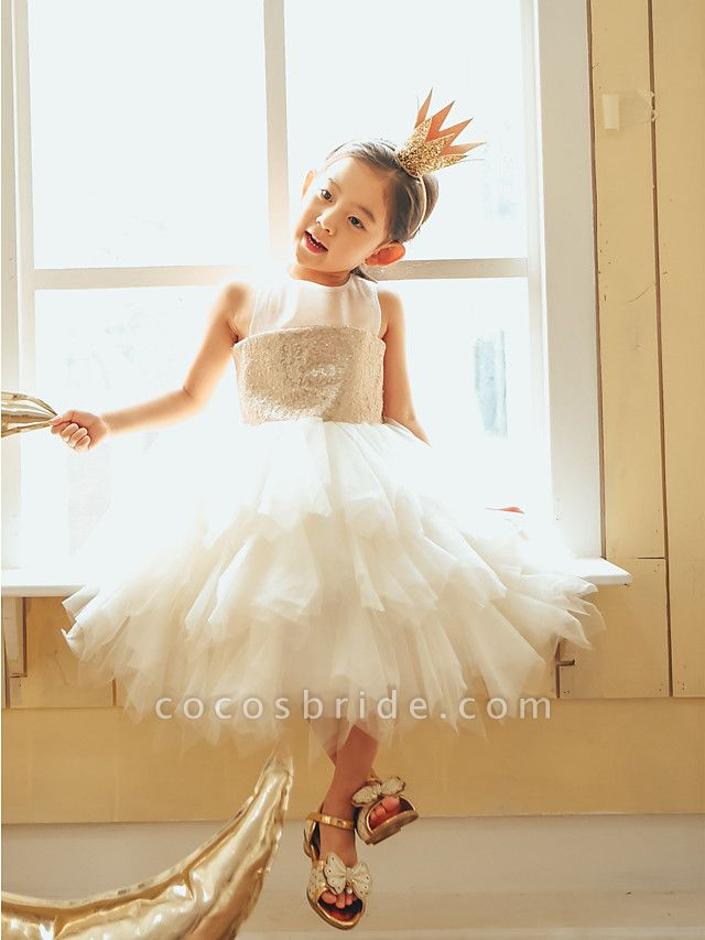 Ball Gown Knee Length Wedding / First Communion / Birthday Flower Girl Dresses - Tulle / Sequined Sleeveless Jewel Neck With Paillette