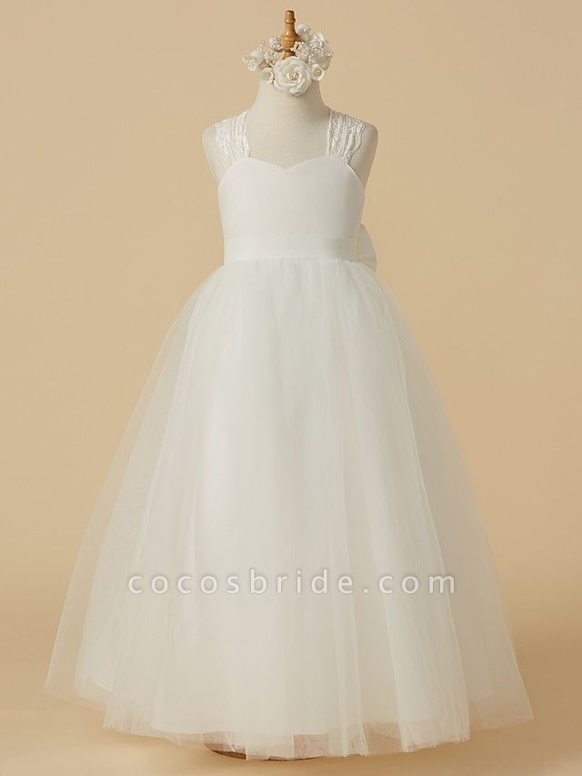 Princess Floor Length Wedding / First Communion Flower Girl Dresses - Lace / Satin / Tulle Sleeveless Halter Neck With Bow(S)