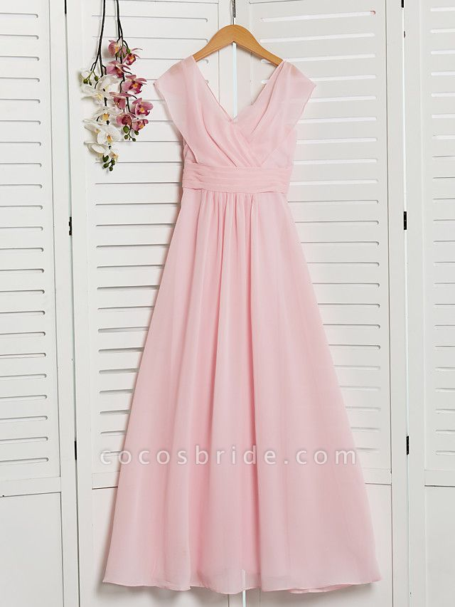 A-Line V Neck Floor Length Chiffon Junior Bridesmaid Dress With Ruffles / Ruching / Wedding Party