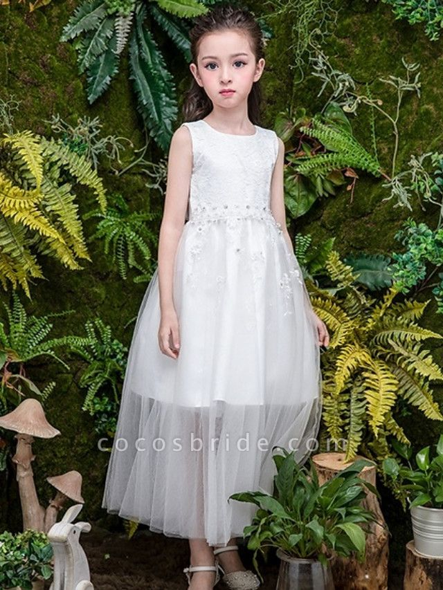 A-Line Ankle Length Wedding Flower Girl Dresses - Tulle Sleeveless Jewel Neck With Bow(S) / Tier / Solid