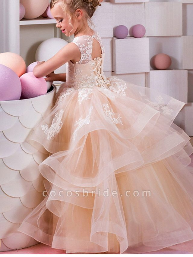 Ball Gown Floor Length Wedding / Birthday Flower Girl Dresses - Polyester Sleeveless Jewel Neck With Tier / Appliques
