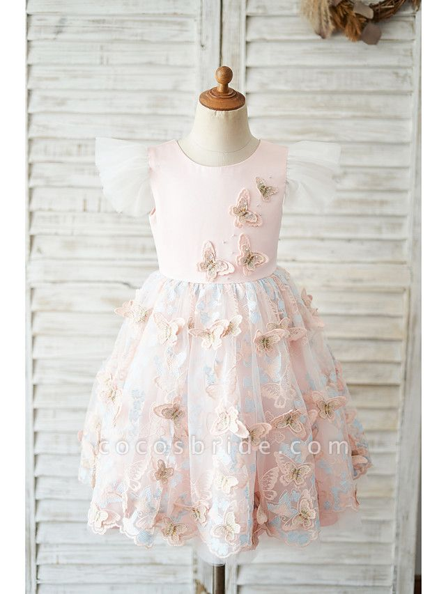 Ball Gown Knee Length Wedding / Birthday Flower Girl Dresses - Tulle Cap Sleeve Jewel Neck With Butterfly Design / Bow(S)