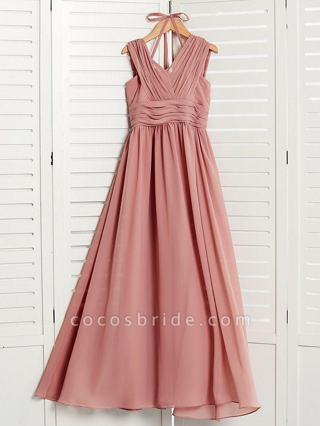 A-Line V Neck Maxi Chiffon Junior Bridesmaid Dress With Pleats / Ruching