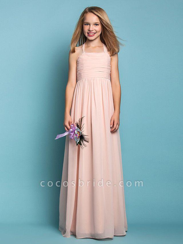Sheath / Column Halter Neck Floor Length Chiffon Junior Bridesmaid Dress With Ruched / Spring / Summer / Fall / Apple / Hourglass