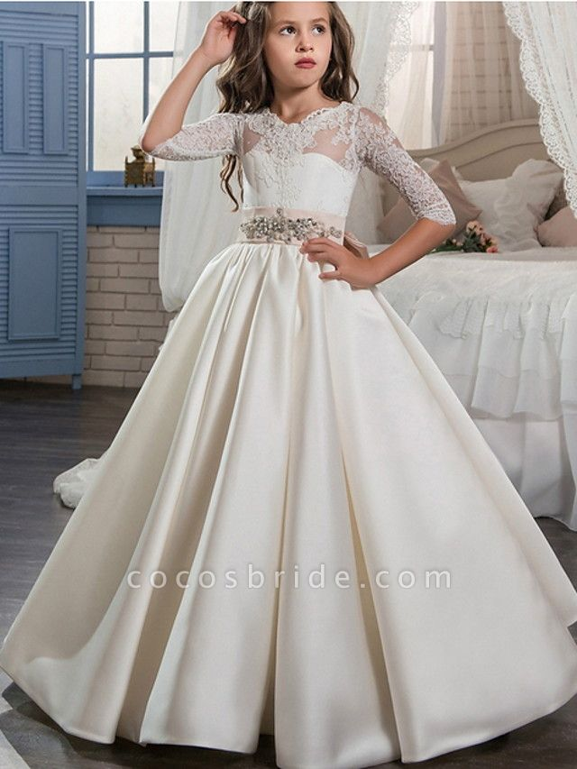 Ball Gown Floor Length Event / Party / Formal Evening Flower Girl Dresses - Polyester 3/4 Length Sleeve Scoop Neck With Lace / Bow(S)