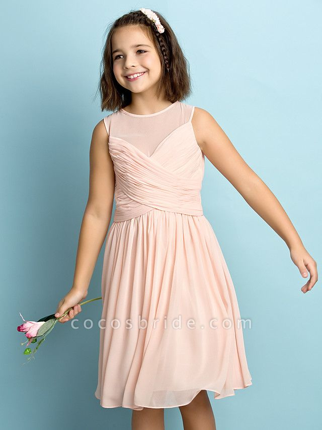 A-Line Jewel Neck Knee Length Chiffon Junior Bridesmaid Dress With Criss Cross / Natural / Mini Me