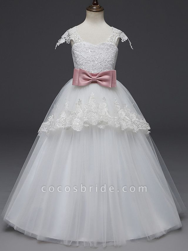 Princess Long Length Wedding / First Communion Flower Girl Dresses - Lace / Tulle Cap Sleeve Scoop Neck With Belt / Appliques