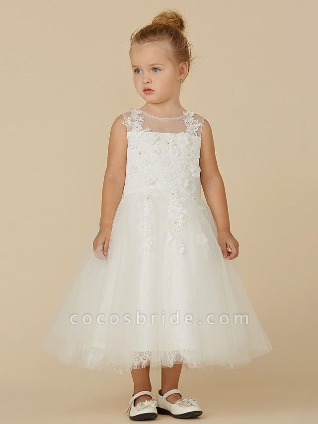 Princess Tea Length Wedding / First Communion Flower Girl Dresses - Lace / Tulle Sleeveless Illusion Neck With Beading / Appliques