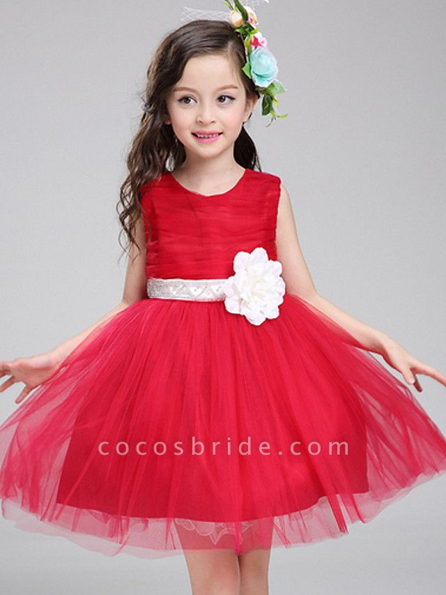 Princess Knee Length Pageant Flower Girl Dresses - Polyester Sleeveless Jewel Neck With Bandage / Color Block