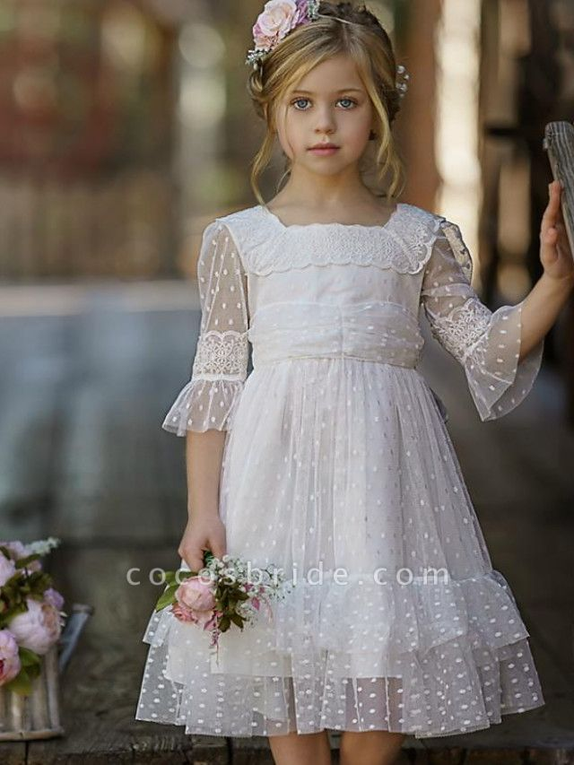A-Line Knee Length Wedding / Party Flower Girl Dresses - Tulle Half Sleeve Jewel Neck With Tier / Solid