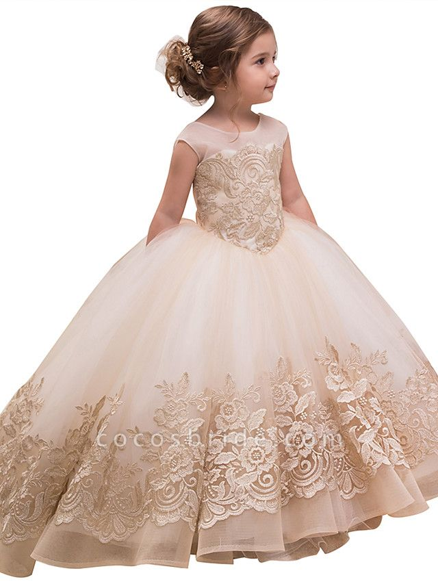 Princess Sweep / Brush Train Wedding / Birthday / Pageant Flower Girl Dresses - Lace / Tulle / Cotton Sleeveless Jewel Neck With Lace / Bow(S) / Embroidery