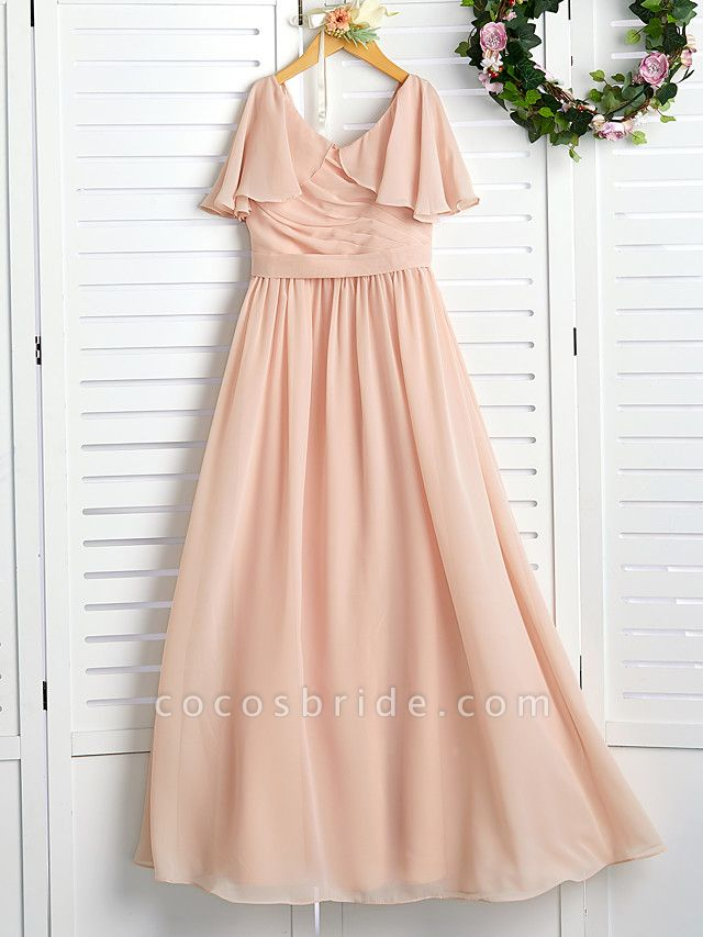 A-Line Jewel Neck Maxi Chiffon Junior Bridesmaid Dress With Ruffles / Ruching / Wedding Party