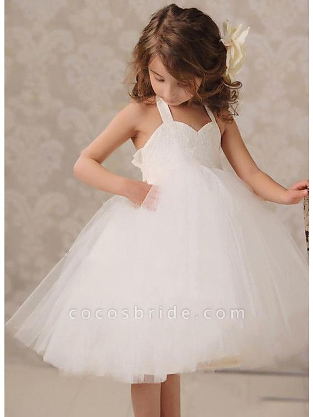 A-Line Knee Length Wedding / Party Flower Girl Dresses - Lace / Tulle Sleeveless Jewel Neck With Ruching