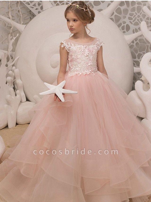 Ball Gown Floor Length Wedding / Birthday Flower Girl Dresses - Polyester Sleeveless Jewel Neck With Ruffles / Appliques