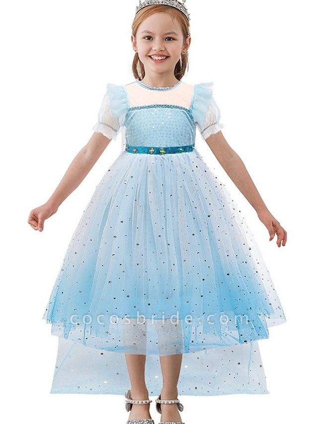 Princess / A-Line Floor Length Wedding / Party Flower Girl Dresses - Tulle Short Sleeve Jewel Neck With Paillette