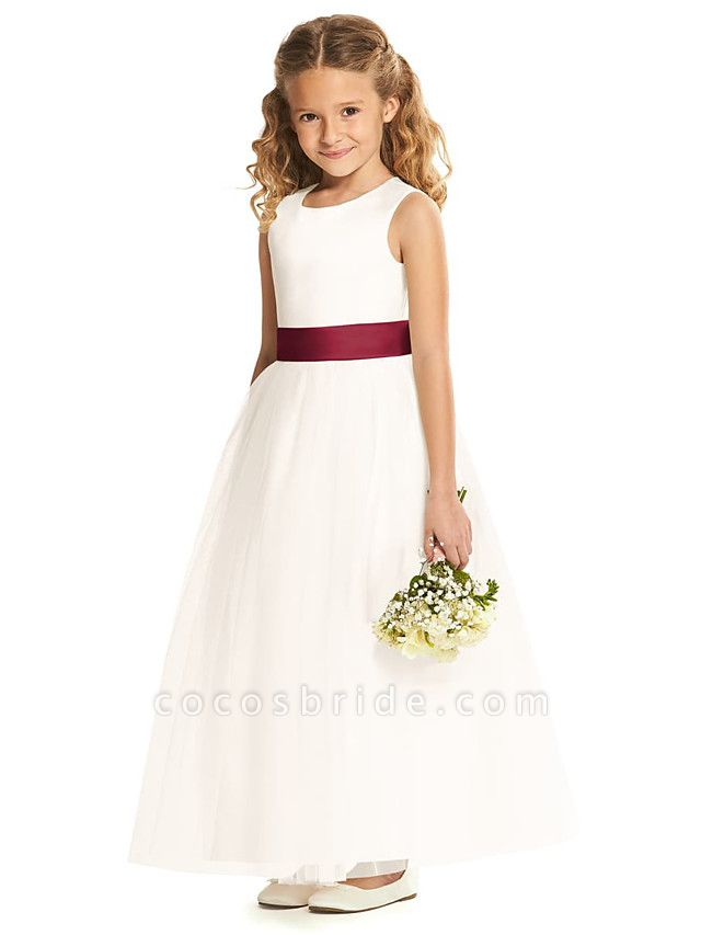 A-Line Floor Length Wedding / Party Flower Girl Dresses - Tulle Sleeveless Jewel Neck With Pleats / Solid