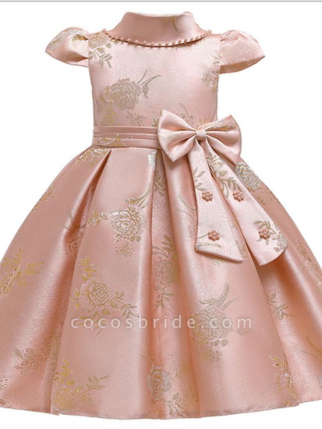 Ball Gown Ankle Length Pageant Flower Girl Dresses - Polyester Short Sleeve Jewel Neck With Bow(S) / Appliques