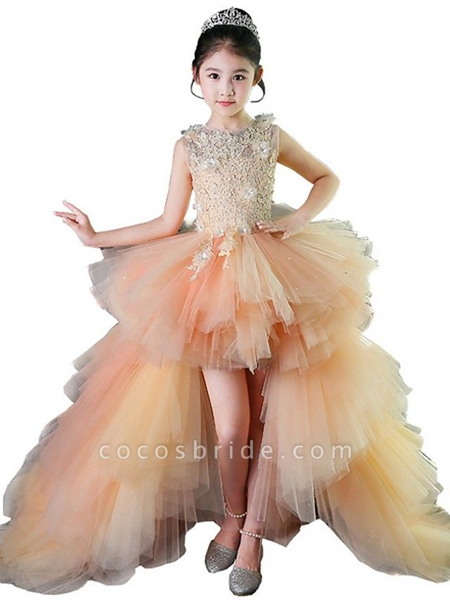A-Line Asymmetrical Wedding / Pageant Flower Girl Dresses - Tulle Sleeveless Jewel Neck With Tier / Appliques