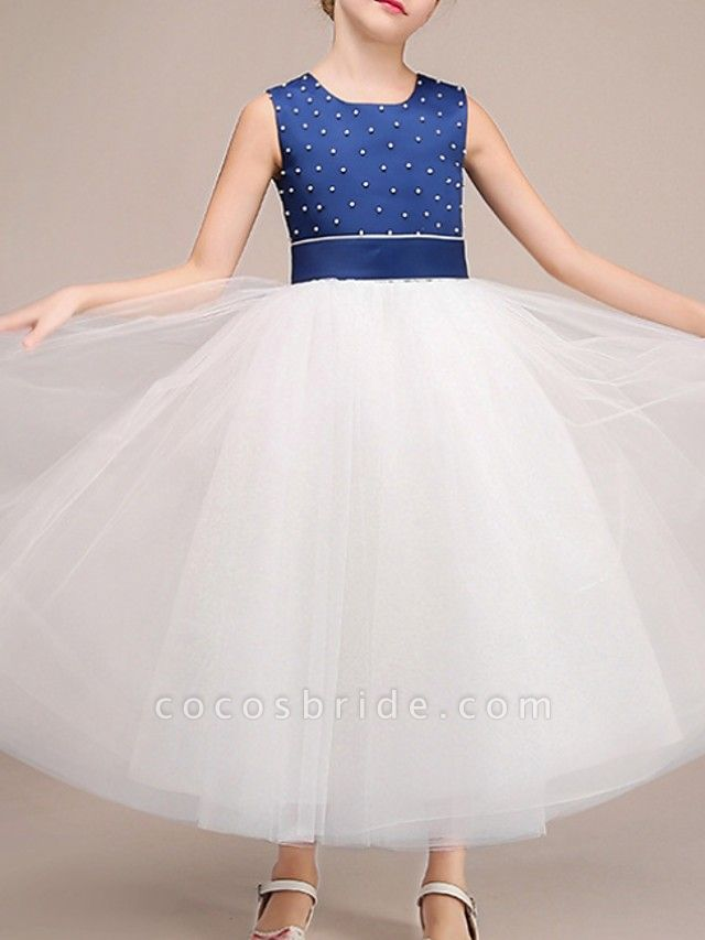 Ball Gown Ankle Length Pageant Flower Girl Dresses - Polyester Sleeveless Jewel Neck With Bow(S)