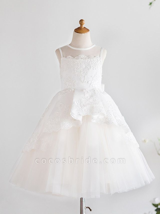 Princess Knee Length Wedding / First Communion / Birthday Flower Girl Dresses - Satin / Tulle Sleeveless Jewel Neck With Bows / Appliques