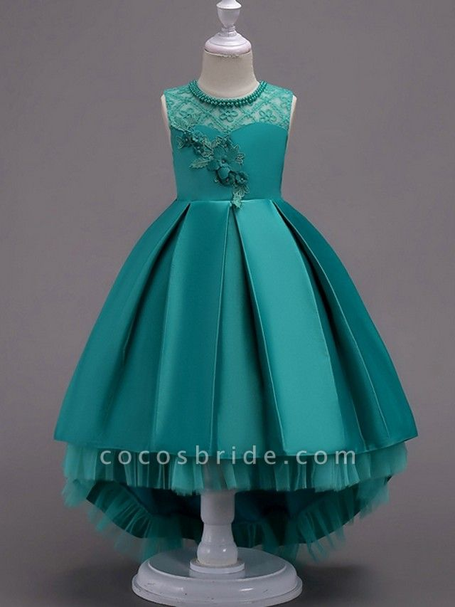 A-Line Asymmetrical Pageant Flower Girl Dresses - Satin Sleeveless Jewel Neck With Lace / Bow(S) / Beading