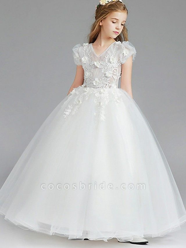 Princess / Ball Gown Knee Length Wedding / Party Flower Girl Dresses - Tulle Short Sleeve V Neck With Tier / Appliques