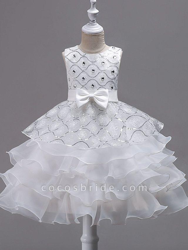 Princess Midi Wedding / Birthday / Pageant Flower Girl Dresses - Organza / Satin Sleeveless Jewel Neck With Bow(S) / Embroidery / Crystals / Rhinestones