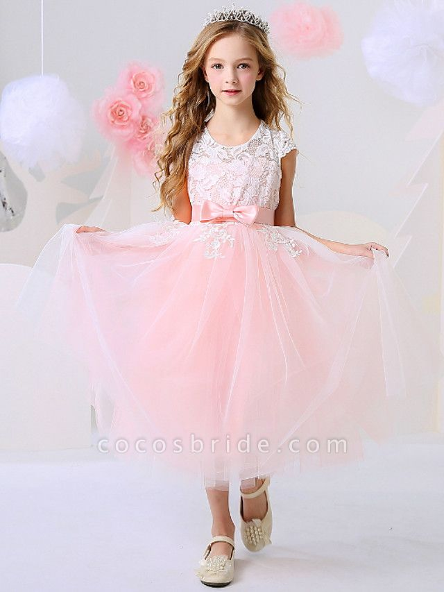 Ball Gown Ankle Length Event / Party / Birthday Flower Girl Dresses - Polyester Short Sleeve Jewel Neck With Bow(S) / Appliques