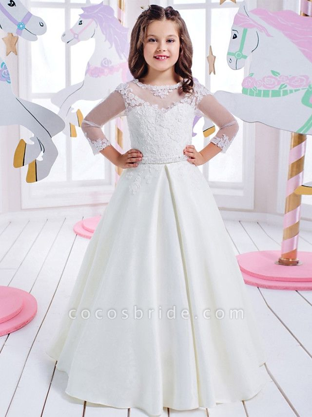 Princess Floor Length Wedding / Birthday / First Communion Flower Girl Dresses - Cotton / Nylon With A Hint Of Stretch / Lace / Mikado 3/4 Length Sleeve Jewel Neck With Lace / Appliques
