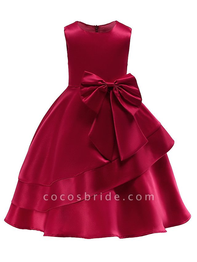 Ball Gown Knee Length Wedding / Party Flower Girl Dresses - Tulle Sleeveless Jewel Neck With Bow(S) / Tier