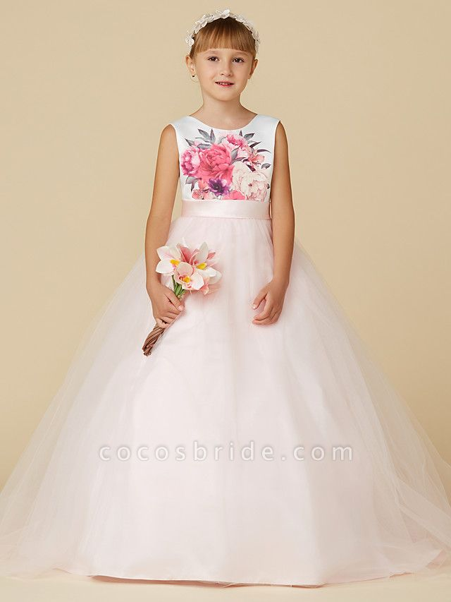 Princess Sweep / Brush Train Wedding / Birthday / Pageant Flower Girl Dresses - Satin / Tulle Sleeveless Jewel Neck With Sash / Ribbon / Print