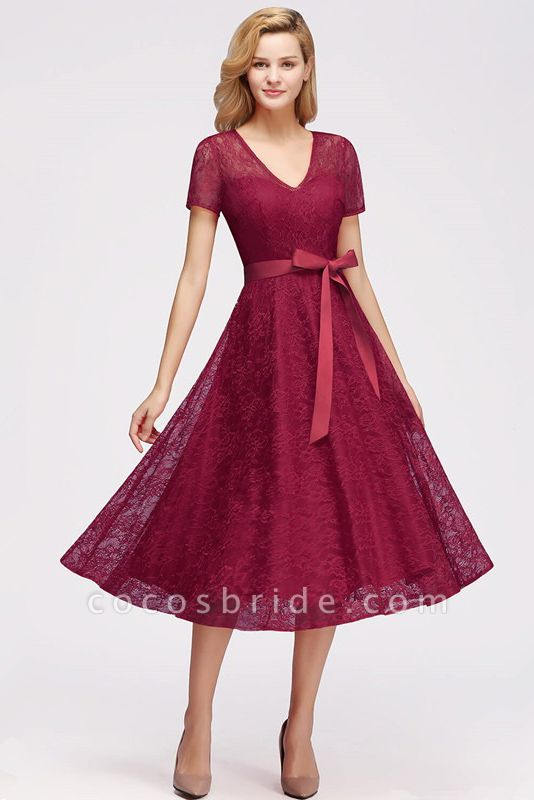Short Sleeves V-neck Lace Dresses with Bow Sash