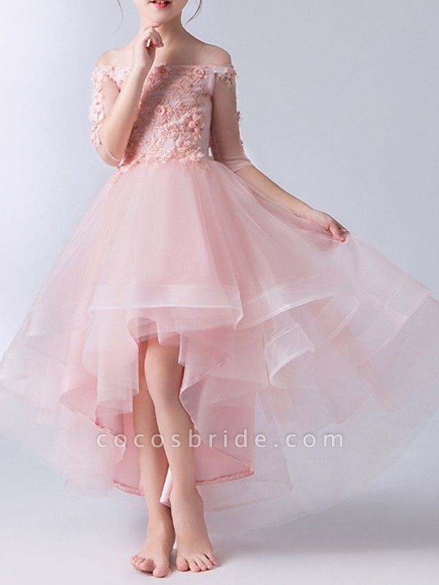 A-Line Asymmetrical Pageant Flower Girl Dresses - Tulle Half Sleeve Off Shoulder With Beading / Appliques