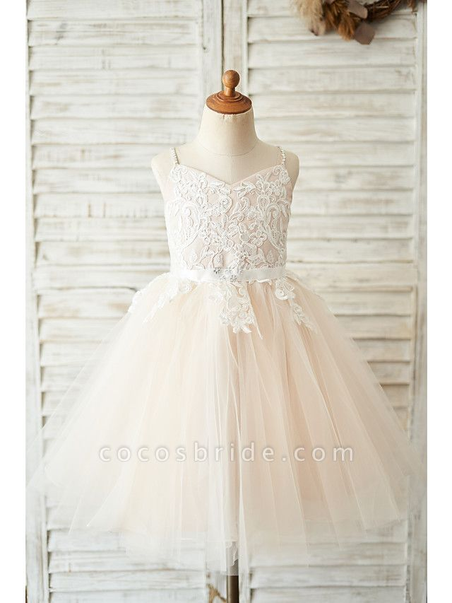 Ball Gown Knee Length Wedding / Birthday Flower Girl Dresses - Lace / Tulle Sleeveless Spaghetti Strap With Belt / Crystals