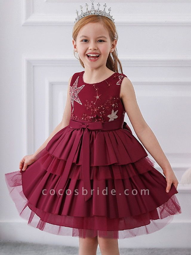 Ball Gown Knee Length Wedding / Party Flower Girl Dresses - Tulle / Mikado Sleeveless Jewel Neck With Bow(S) / Tier / Paillette
