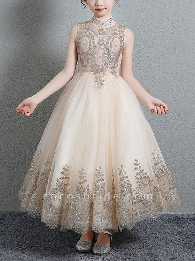 A-Line Floor Length Pageant Flower Girl Dresses - Polyester Sleeveless High Neck With Paillette