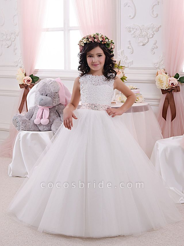 Princess Floor Length Wedding / Birthday / First Communion Flower Girl Dresses - Lace / Tulle / Cotton Sleeveless Jewel Neck With Lace / Appliques / Crystals / Rhinestones