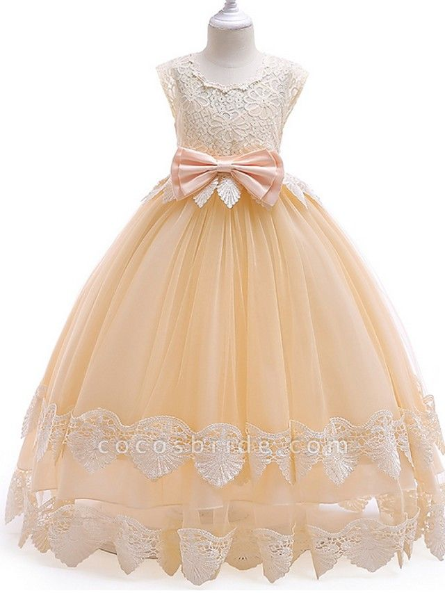 Princess / Ball Gown Ankle Length Wedding / Party Flower Girl Dresses - Tulle Cap Sleeve Jewel Neck With Bow(S) / Tier / Appliques