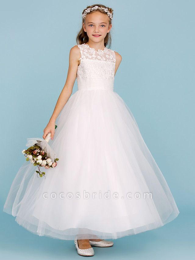 Princess / A-Line Crew Neck Ankle Length Lace / Tulle Junior Bridesmaid Dress With Sash / Ribbon / Wedding Party