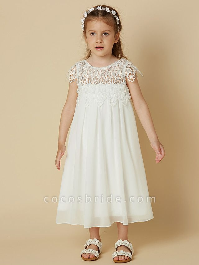 Sheath / Column Knee Length Wedding / First Communion / Holiday Flower Girl Dresses - Chiffon / Lace Short Sleeve Scoop Neck With Lace