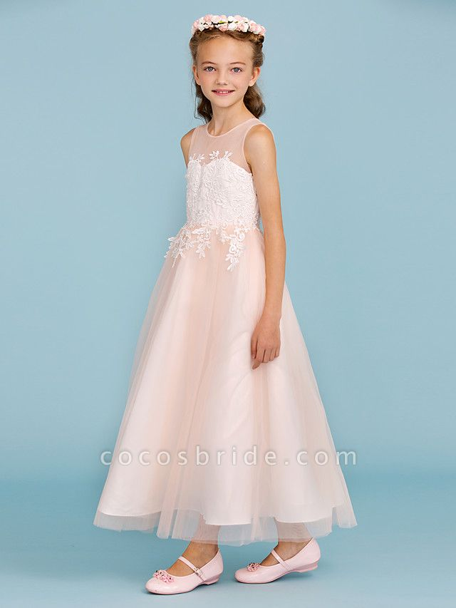 Princess / A-Line Jewel Neck Ankle Length Lace / Tulle Junior Bridesmaid Dress With Sash / Ribbon / Appliques / Wedding Party / Open Back